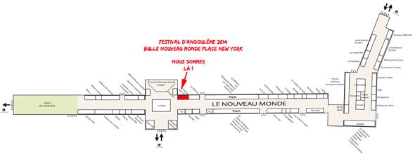 Plan de l'espace Nouveau Monde - festival d'Angoulême du 30 janvier au 2 février 2014
