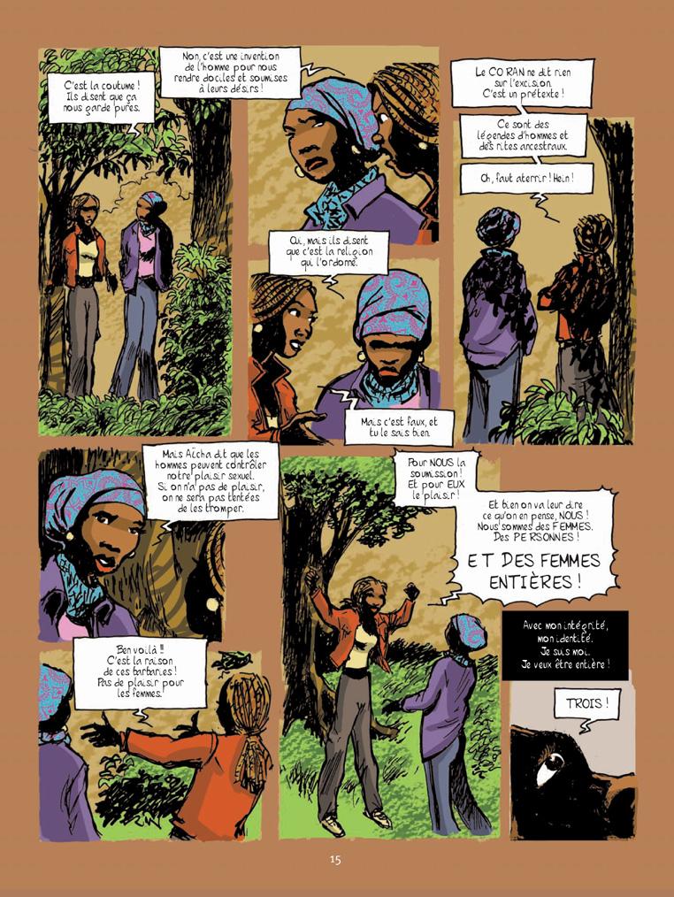 En chemin elle rencontre... L'excision, histoire en 6 pages écrites par Marie Moinard, dessinées par Charles Masson et mises en couleurs par Guy Raives - Extrait