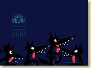 NOVEMBRE 2013 - Fond d'écran n°2 : L'histoire qui fait peur ! par Marjorie Béal / Jeunesse (Des ronds dans l'O - novembre 2013)