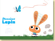 JUILLET 2013 - Fond d'écran n°1 : Monsieur Lapin - T2, La chasse aux papillons de Baptiste Amsallem et Loïc Dauvillier / Jeunesse (Des ronds dans l'O - juin 2013)