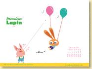 NOVEMBRE 2014 - Fond d'écran n°4 : Monsieur Lapin, T3 - Les ballons de Loïc Dauvillier et Baptiste Amsallem / Jeunesse
