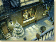 Décembre 2012 - Fond d'écran n°6 : La petite fille aux allumettes, conte de Hans Christian Andersen illustré par Fabrice Backès (Des ronds dans l'O,  oct. 2011)