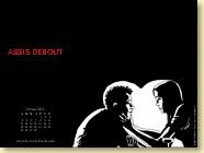 Février 2013 - Fond d'écran n°4 : Assis debout de Vincent De Raeve et Stephan Plottès (Des ronds dans l'O - 2008)