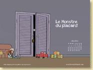 MAI 2014 - Fond d'écran n°5 : Le Monstre du placard de Monia Lyorit et Thierry Martin / Jeunesse