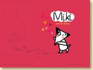 MAI 2014 - Fond d'écran n°3 : Miki aime les bisous d'Ingrid Chabbert et Maarjorie Béal / Jeunesse
